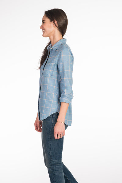 Newport Shirt - Faded Indigo Windowpane