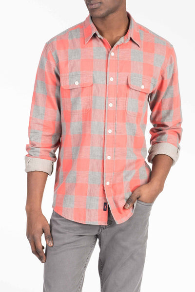 Doublecloth Shirt - Red Buffalo Check/Grey Chambray