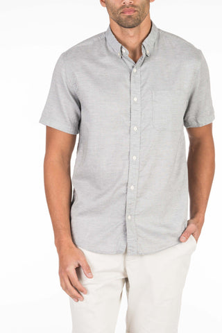 Short-Sleeve Button-Down Ventura Shirt - Washed Grey Oxford