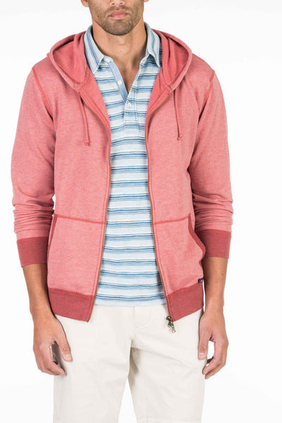 French Terry Zip Hood - Faded Red