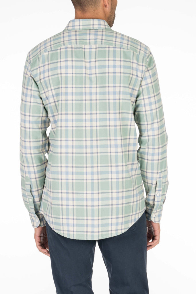 Brushed Beach Flannel - Faded Green Plaid