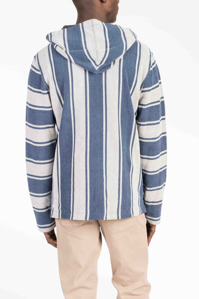Terry Baja Poncho - Grey & Navy Stripe