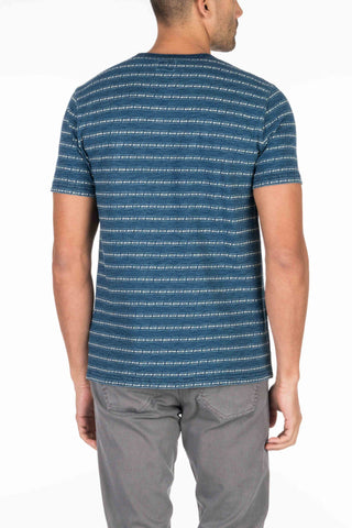 Indigo Pocket Tee - Arrow Stripe Jacquard