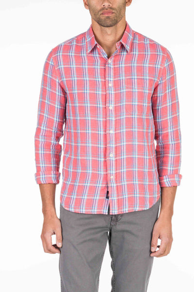 Linen Ventura Shirt - Coral Plaid