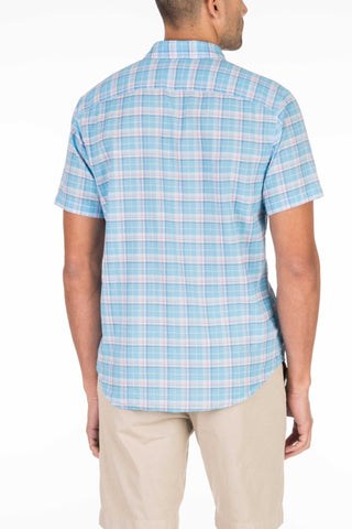Short-Sleeve Summer Blend Shirt - Blue Plaid