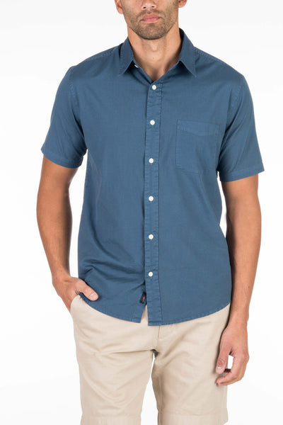 Garment Dyed Short-Sleeve Ventura Shirt - Navy