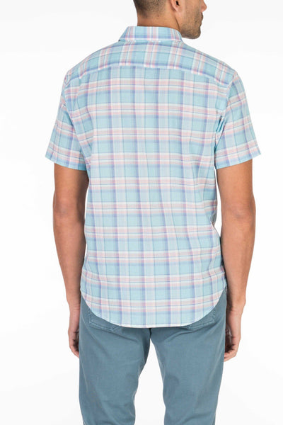 Short-Sleeve Summer Blend Shirt - Turquoise Plaid
