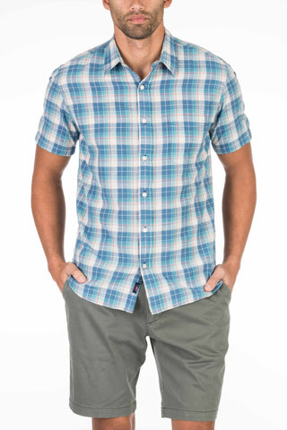 Short-Sleeve Lightweight Slub Cotton Shirt - Green & Indigo Plaid