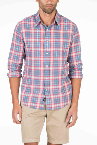 Lightweight Slub Cotton Shirt - Red & Blue Plaid