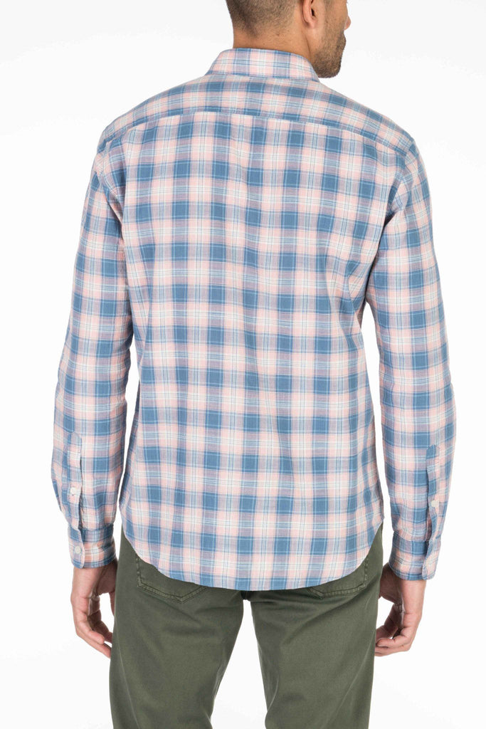 Lightweight Slub Cotton Shirt - Rose & Blue Plaid