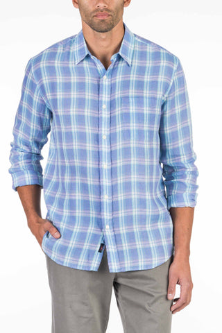 Linen Ventura Shirt - Purple Plaid