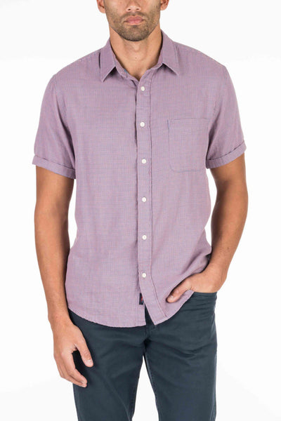Short-Sleeve Doublecloth Shirt - Rose Gingham/Double-Stripe