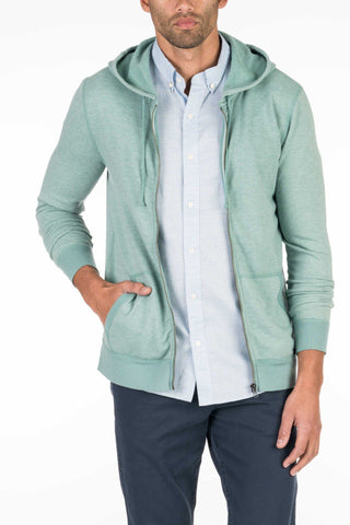 French Terry Zip Hood - Spring Green