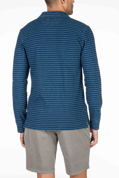 Long-Sleeve Indigo Polo - Dark Indigo Wash Stripe