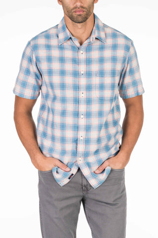 Short-Sleeve Lightweight Slub Cotton Shirt - Rose & Blue Plaid