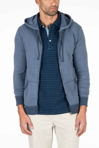 French Terry Zip Hood - Navy