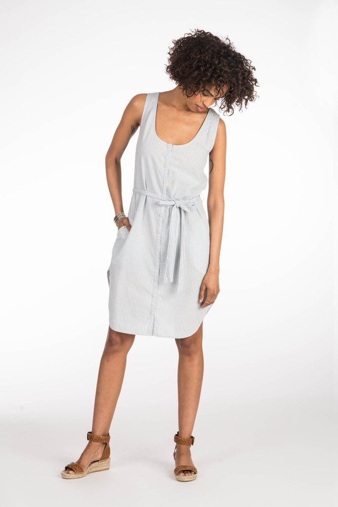 Martinique Dress - Indigo Railroad Stripe