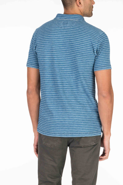 Indigo Polo - Medium Wash White Stripe