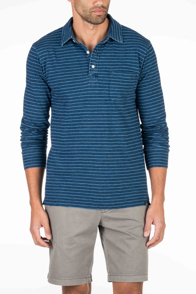 Long-Sleeve Heather Polo  - Dark Indigo Wash Stripe
