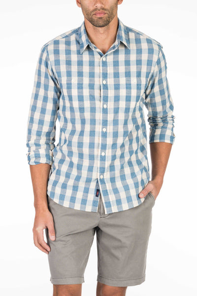Seaview Shirt - Indigo Cream Plaid