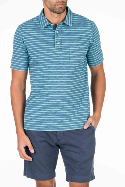 Indigo Polo  - Medium Wash Turquoise Stripe