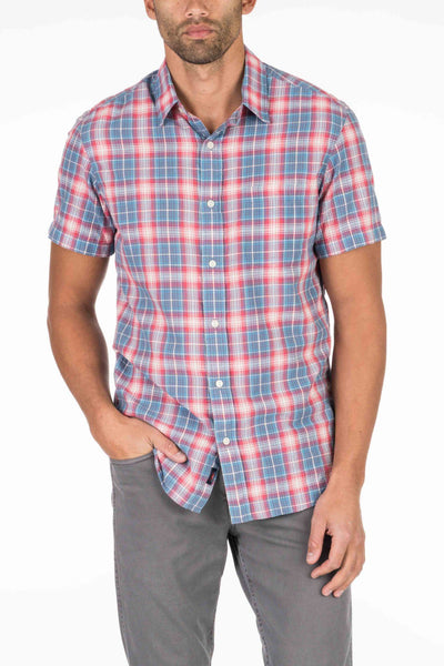 Short-Sleeve Lightweight Slub Cotton Shirt - Red & Blue Plaid