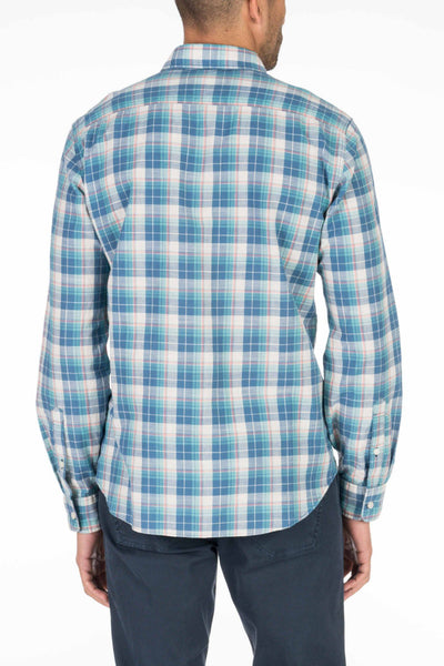 Lightweight Slub Cotton Shirt - Green & Indigo Plaid