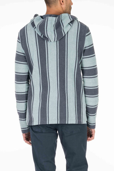 Terry Baja Poncho - Teal Navy Stripe