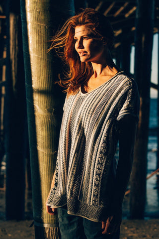 Apollo Sweater Poncho - Multi-Stripe
