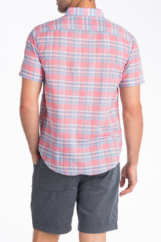 Short-Sleeve Summer Blend Shirt - Red Plaid
