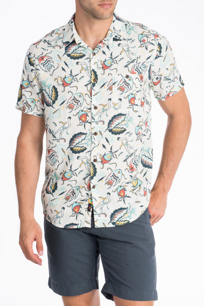 Rayon Hawaiian Shirt - Eternal Reef White