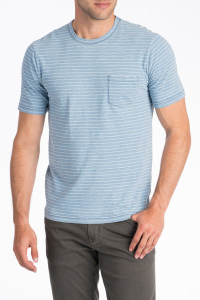 Indigo Pocket Tee - Light Wash White Stripe
