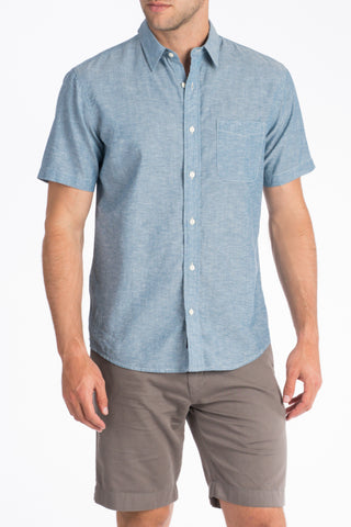 Short-Sleeve Breezecloth Shirt - Blue