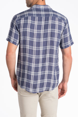 Short-Sleeve Linen Ventura Shirt - Navy Plaid