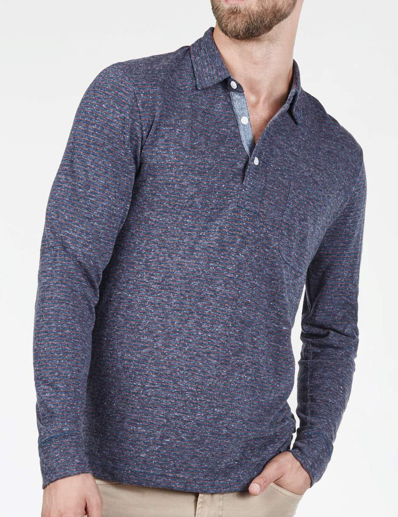 Long-Sleeve Heather Polo - Navy & Rust Stripe