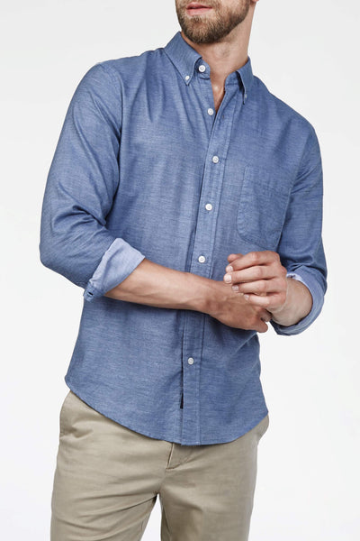 Button-Down Collar Twill Shirt - Blue Twill Chambray