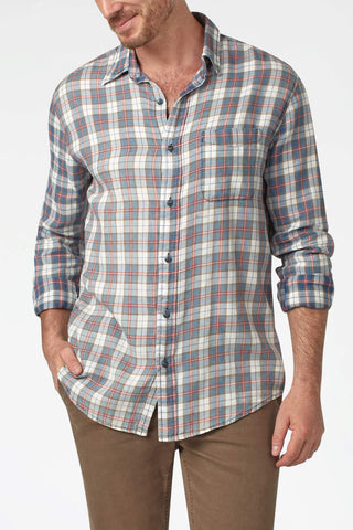 Indigo Signature Washed Twill Shirt - Indigo & Red Plaid