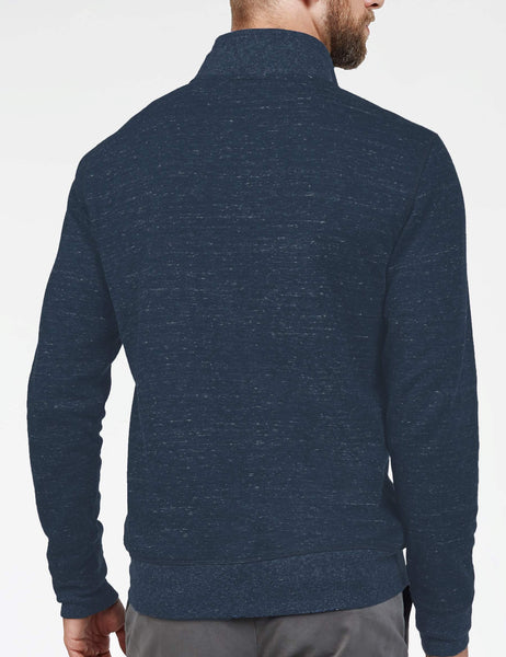 Heather Dual Knit Pullover - Navy