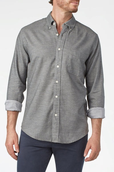 Button-Down Collar Twill Shirt - Charcoal Twill Chambray