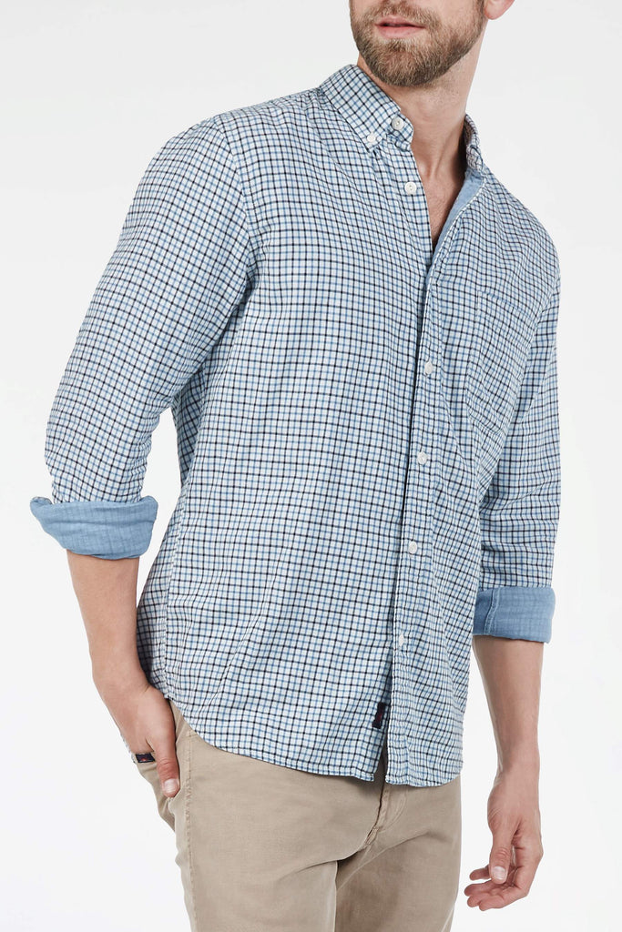 Doublecloth Shirt - Indigo Tattersall