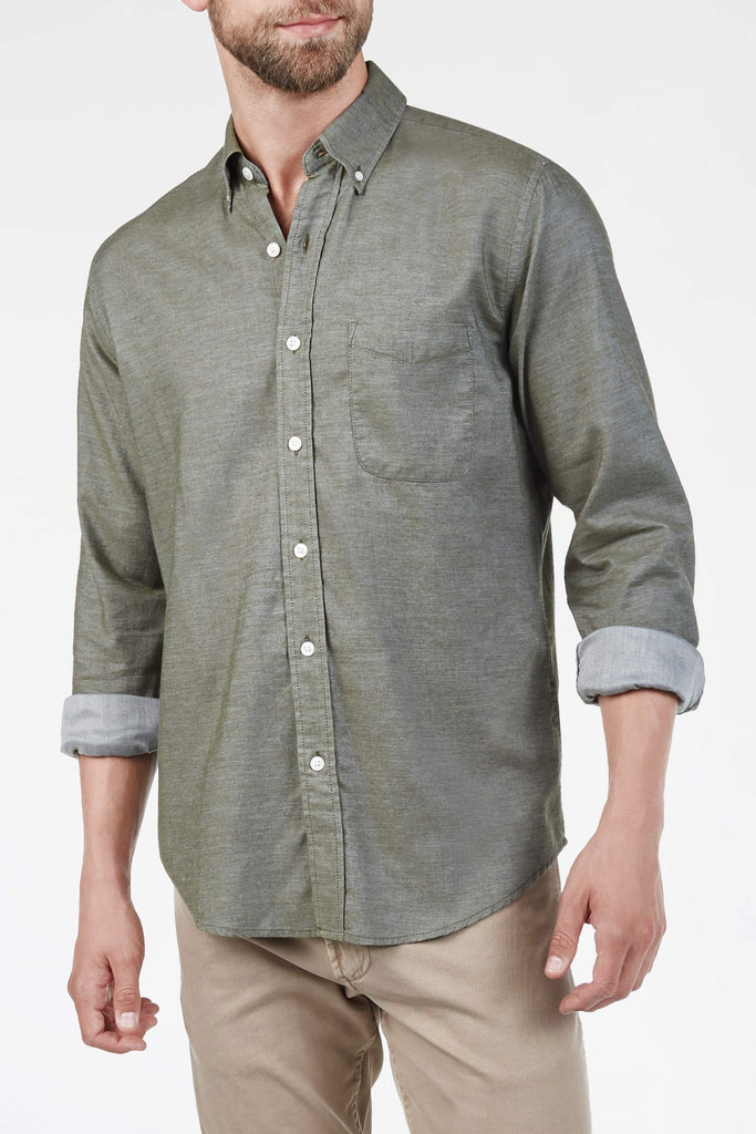 Button-Down Collar Twill Shirt - Olive Twill Chambray