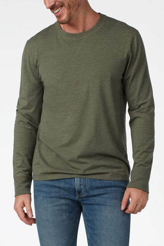 Long-Sleeve Notch Crewneck  - Field Green