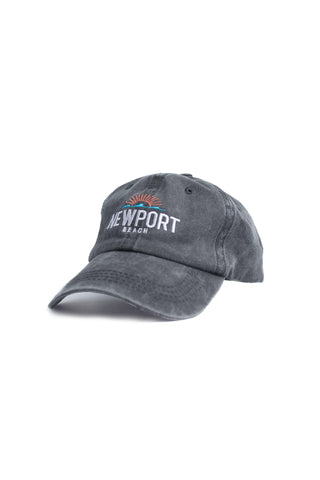 Newport Beach Wash Ball Cap- Black