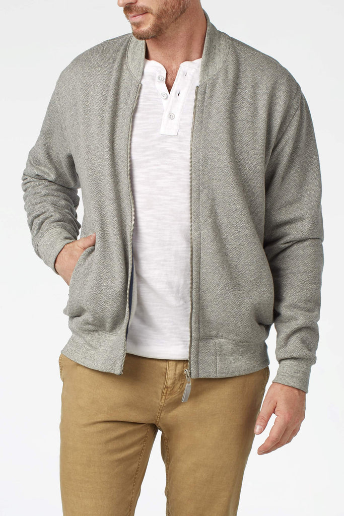 Herringbone Fleece Bomber - Grey