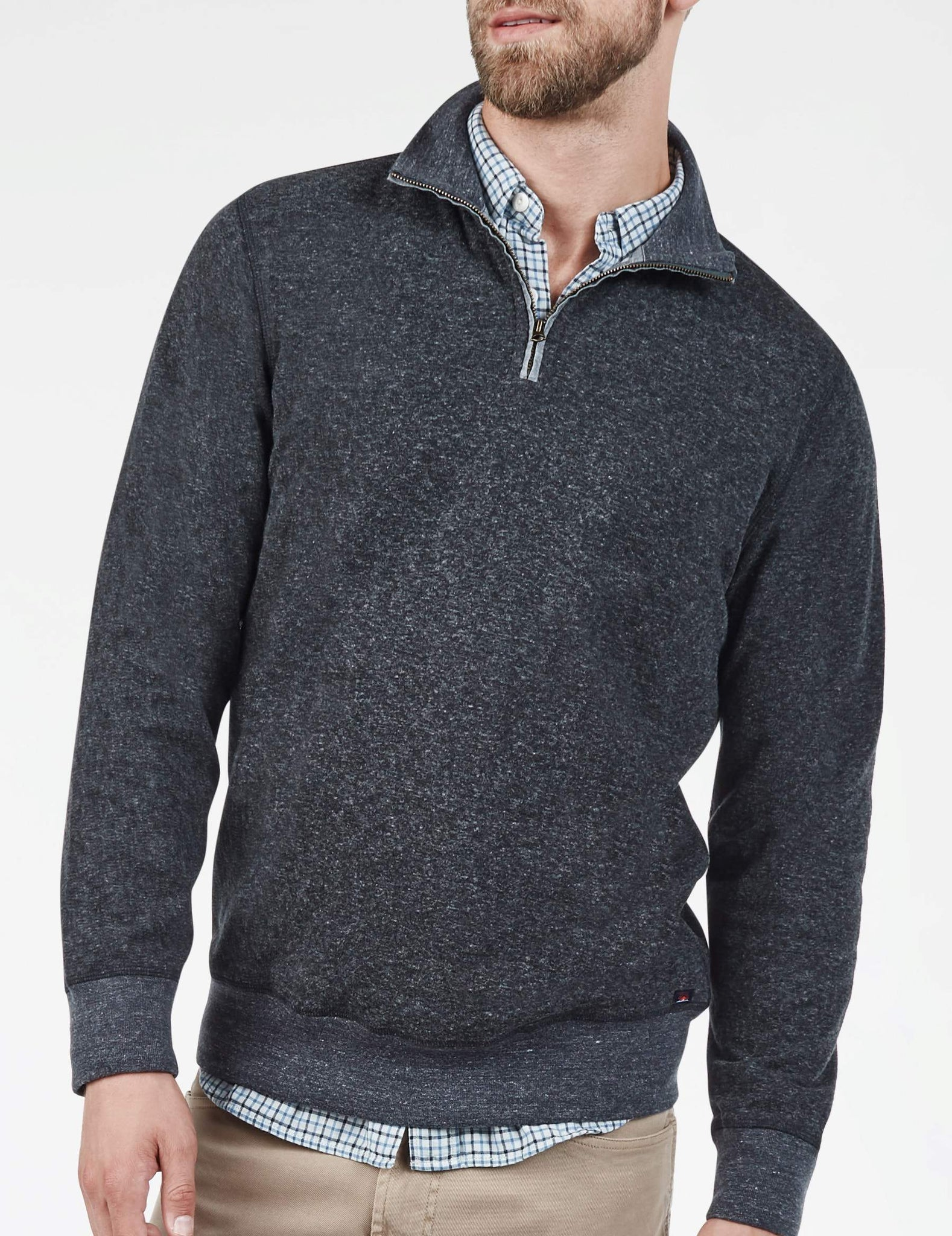 8716ed2a8157 Heather Dual Knit Pullover - Washed Black – Faherty Brand