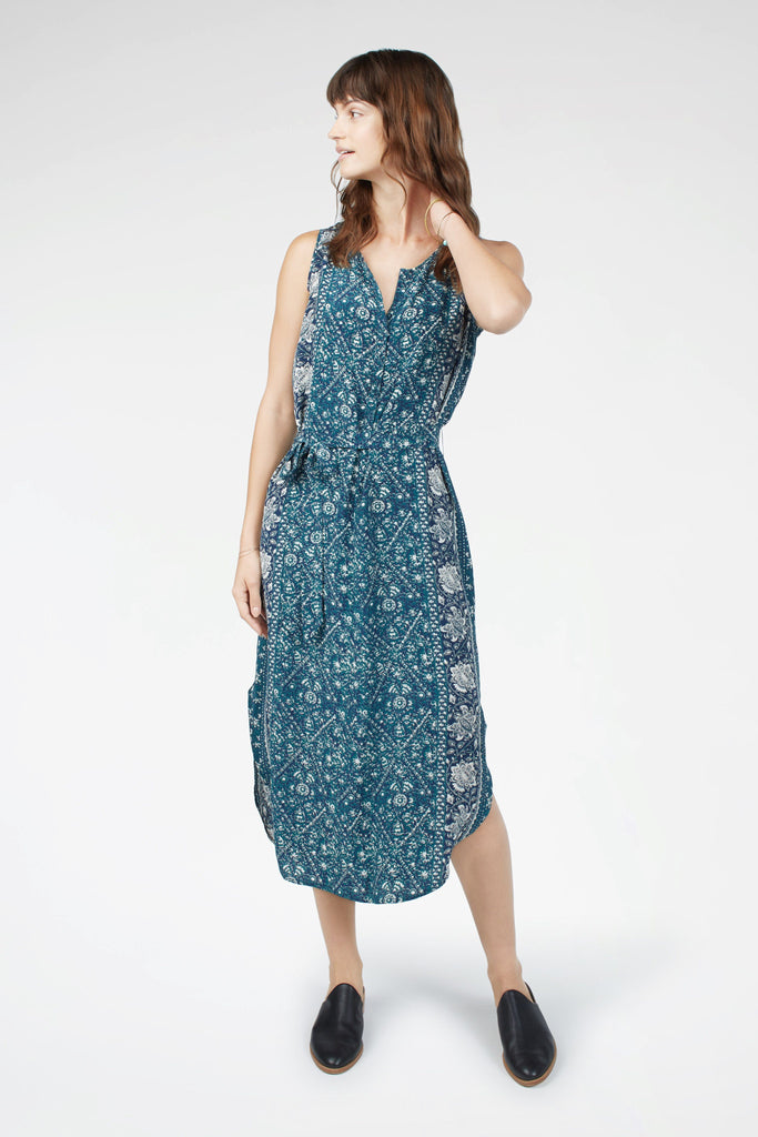 Silk Samoa Dress - Navy Bohemian Vines