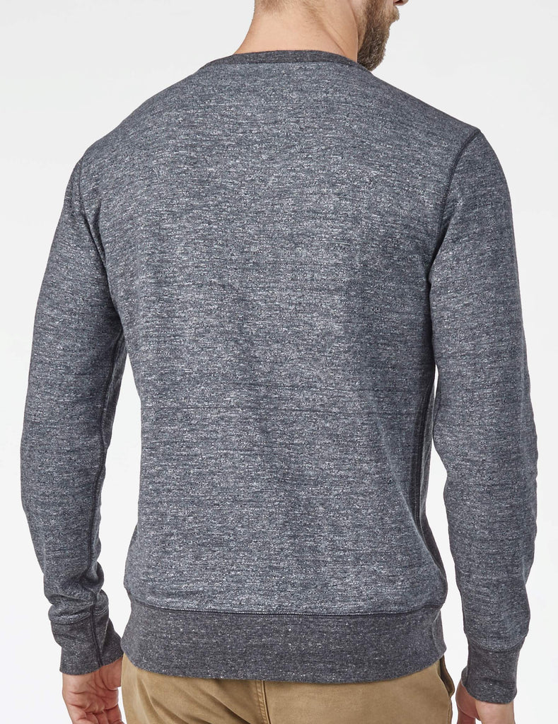 Heather Dual Knit Crewneck  - Charcoal