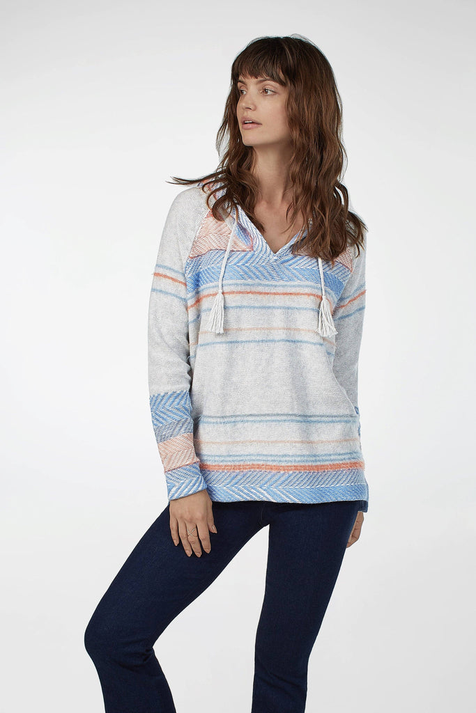 Shelter Cove Sweater Poncho - Heather Grey Multi