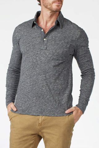 Long-Sleeve Heather Polo - Charcoal