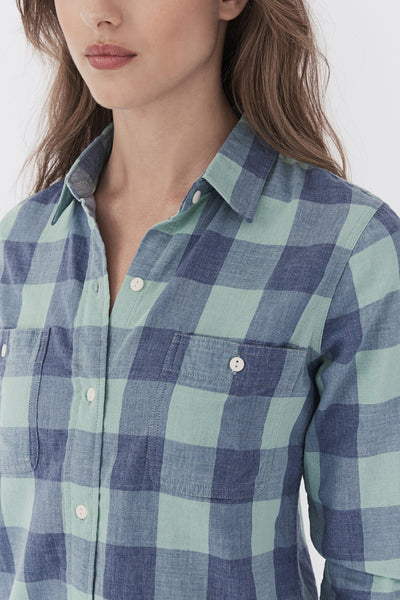 Doublecloth Newport Shirt - Teal Buffalo Plaid